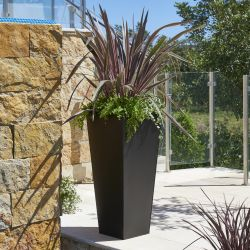 H90cm Zinc Galvanised Black Flared Square Planter - By Primrose™