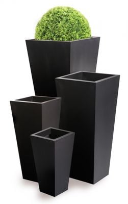 H70cm Zinc Galvanised Black Flared Square Gunmetal Planter - By Primrose®