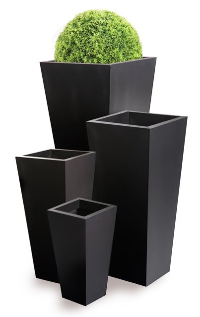 H116cm Zinc Galvanised Black Flared Square Gunmetal Planter - By Primrose®