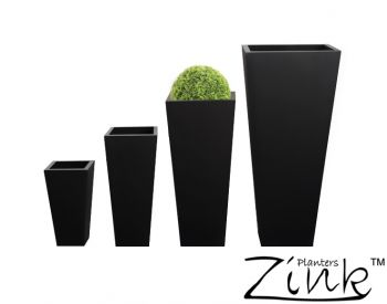 H90cm Zinc Galvanised Black Flared Square Gunmetal Planter - By Zink�