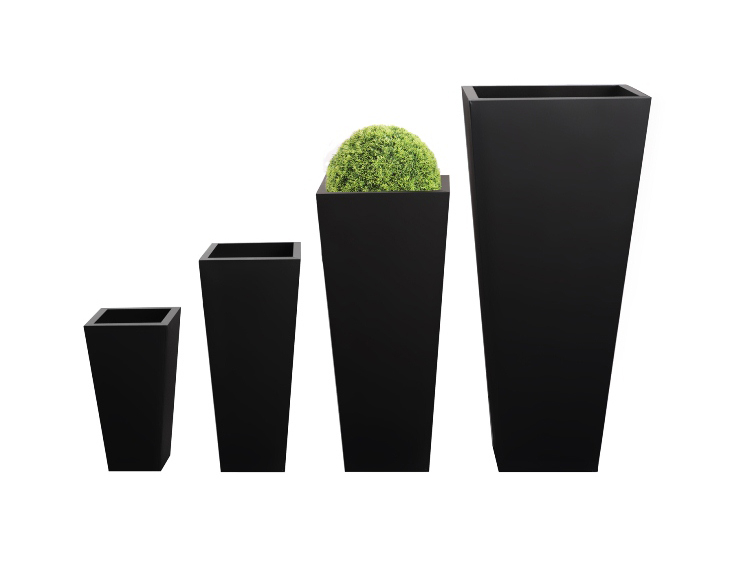 H48cm Zinc Galvanised Black Flared Square Gunmetal Planter - By Primrose®