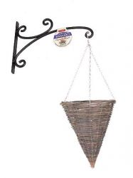 Pair of willow cone hanging baskets with lakeland brackets