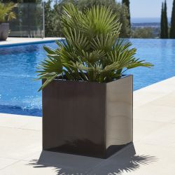 40cm Zinc Galvanised Mocha Brown Cube Planter - By Primrose™