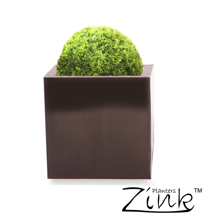30cm Zinc Galvanised Dark Bronze Cube Planter - By Zink�