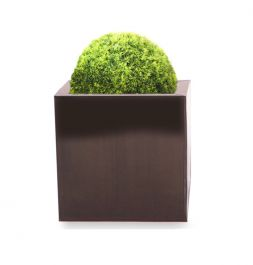20cm Zinc Galvanised Mocha Brown Cube Pot - By Primrose™