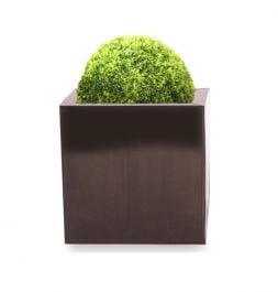 60cm Zinc Galvanised Mocha Brown Cube Planters - By Primrose™