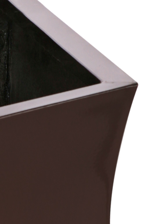 H31cm Zinc Galvanised Dark Bronze Flared Square Pot - By Primrose™