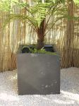 Fibreglass cube planter � Silver, Graphite and other colours - H40cm x W40cm