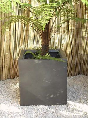 Fibreglass cube planter – Silver, Graphite and other colours - H40cm x W40cm