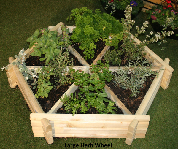 Wooden Herb Wheel Planter