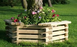 Hexagonal Wooden Tree Seat/Planter Bench Multiple Sizes