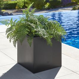 40cm Zinc Galvanised Large Black Cube Planter by Primrose™