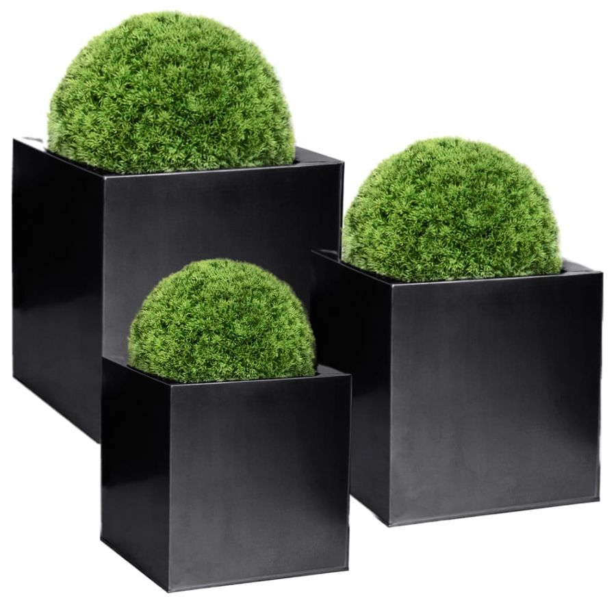 Set of 40cm, 50cm & 60cm Zinc Galvanised Black Cube Planters - By Primrose®