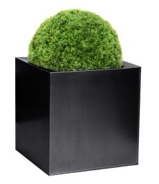 30cm Zinc Galvanised Black Cube Pot - By Primrose™