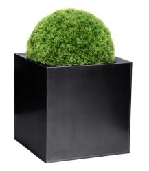 60cm Zinc Galvanised Black Cube Planter - By Primrose™