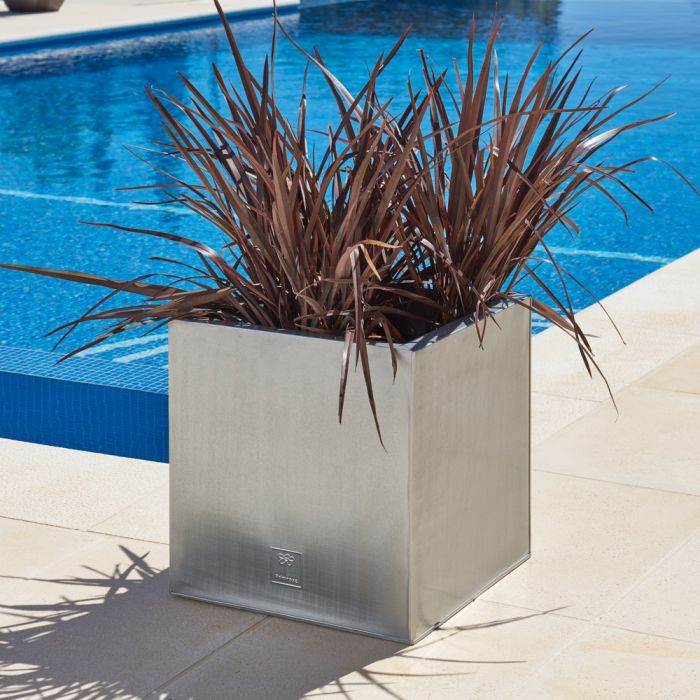 40cm Zinc Galvanised Silver Cube Planters - By Primrose™