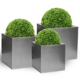 Set of 40cm, 50cm & 60cm Zinc Galvanised Silver Cube Planters - By Primrose®
