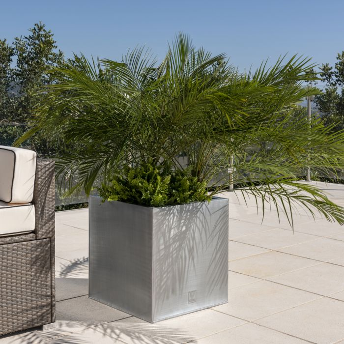 50cm Zinc Galvanised Silver Cube Planter - By Primrose™
