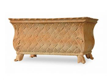Basket Weave Fibreglass Trough Planter - H33cm x L61cm