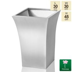 H42.5cm Zinc Galvanised Silver Flared Square Planter -By Primrose™