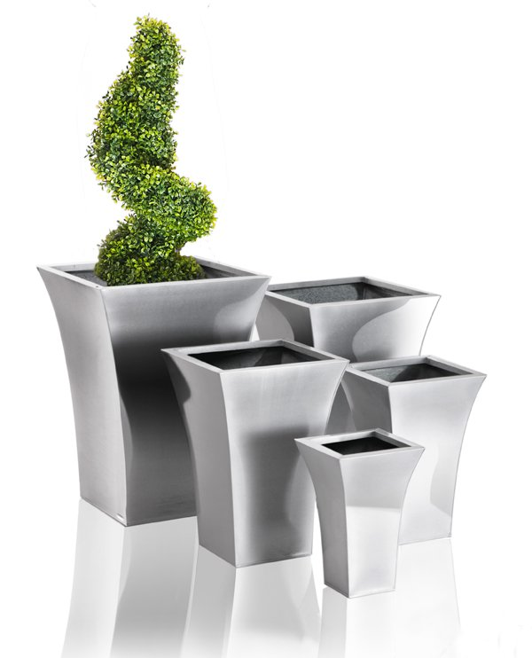 H49cm Zinc Galvanised Silver Flared Square Planter - By Primrose®