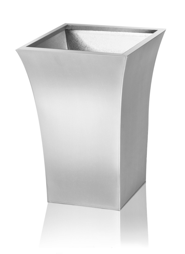 H31cm Zinc Galvanised Silver Flared Square Planter - By Primrose™