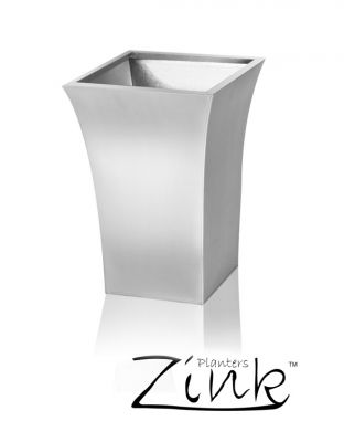 H45cm Zinc Galvanised Silver Flared Square Planter -By Primrose®