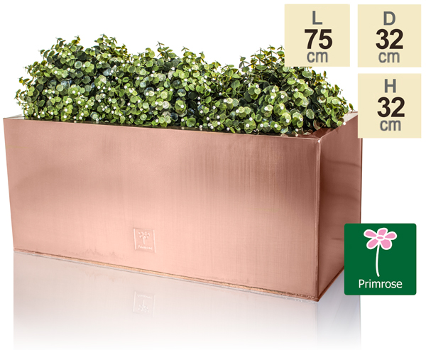 L75cm Zinc Galvanised Trough Planter in a Copper Finish by Primrose™