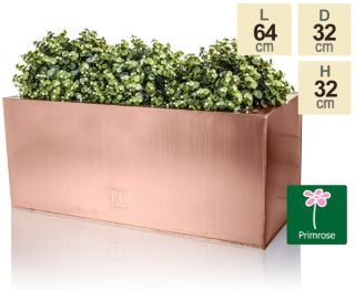 L64cm Zinc Galvanised Trough Planter in a Copper Finish by Primrose™