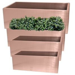 Set of L64cm, L70cm, L75cm & L1m Zinc Galvanised Trough Planter in a Copper Finish by Primrose®
