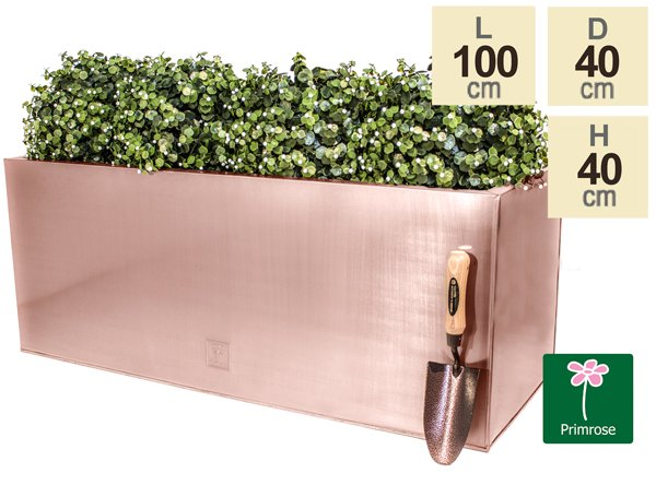 L100cm Zinc Galvanised Trough Planter in a Copper Finish by Primrose™
