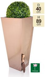 H89cm Zinc Galvanised Flared Square Planter in a Copper Finish by Primrose®