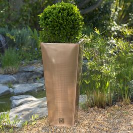H89cm Zinc Galvanised Flared Square Planter in a Copper Finish by Primrose™