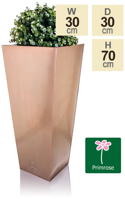 H70cm Zinc Galvanised Flared Square Planter in a Copper Finish by Primrose™