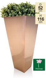 H116cm Zinc Galvanised Flared Square Planter in a Copper Finish by Primrose™