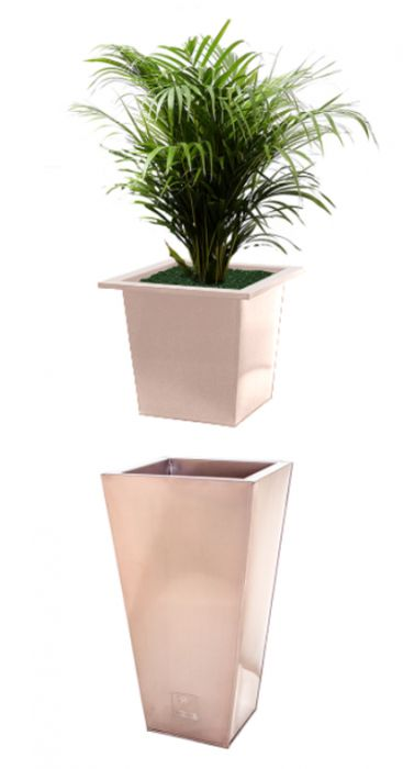 L23cm Flared Square Planter Insert in a Copper Finish - By Primrose™