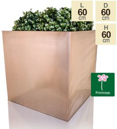 60cm Zinc Galvanised Cube Planter in a Copper Finish by Primrose™