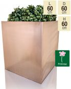 60cm Zinc Galvanised Cube Planter in a Copper Finish by Primrose®
