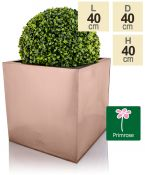 40cm Zinc Galvanised Cube Planter in a Copper Finish by Primrose®