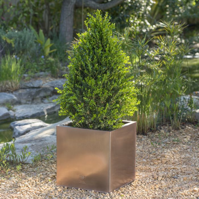 40cm Zinc Galvanised Cube Planter in a Copper Finish by Primrose™