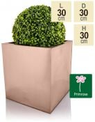 30cm Zinc Galvanised Cube Planter in a Copper Finish by Primrose®
