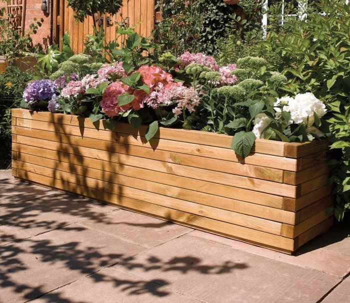 1.8m Wooden Patio Trough Planter - by Rowlinson