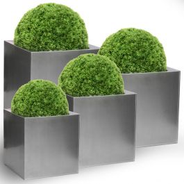 Set of 30cm, 40cm, 50cm & 60cm Zinc Galvanised Platinum Cube Planters - By Primrose®