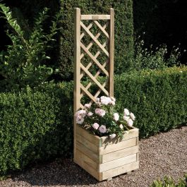 1.4m (4ft 7in) Wooden Square Planter with Lattice FSC® by Rowlinson®