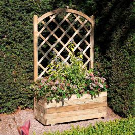 90cm Timber Rectangular Planter With Lattice