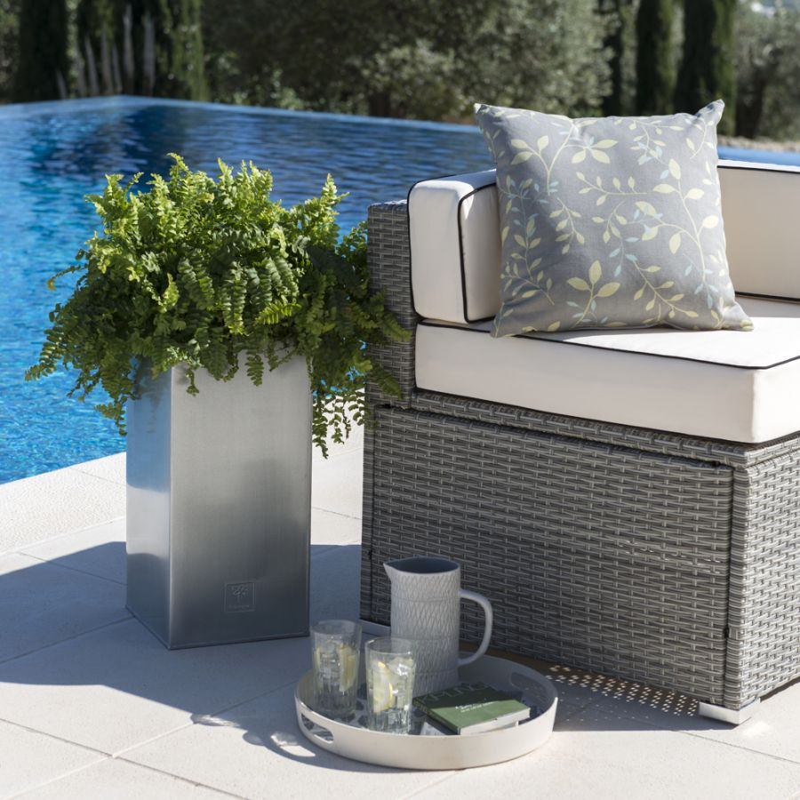 H50cm Zinc Galvanised Tall Cube Planters in Silver - By Primrose™