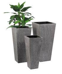 Tall Flared Square Terrazzo Black Planter - H1m x W47cm