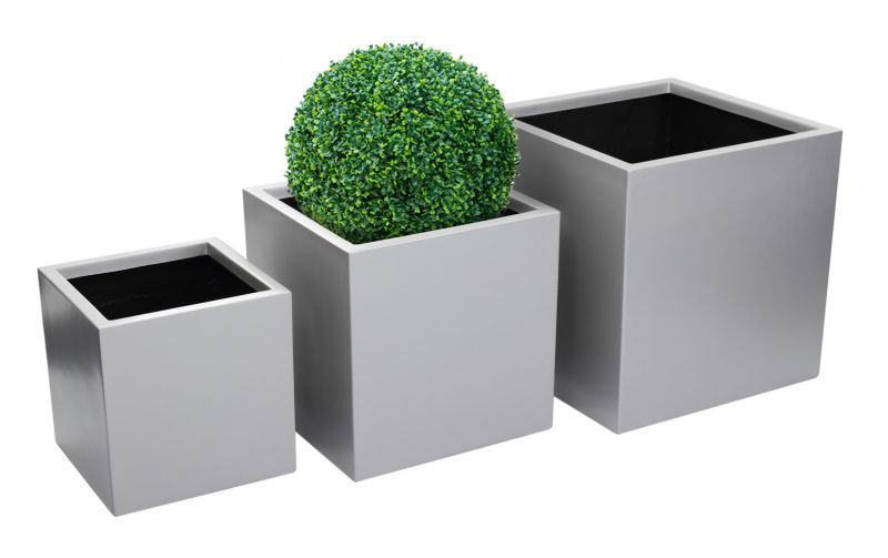 H40cm Fibreglass Cube Planter in Matt Silver - By Primrose®
