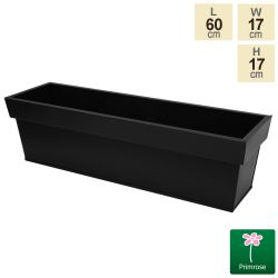 L60cm Zinc Edge Black Trough Planter - By Primrose™