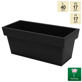 L40cm Zinc Edge Black Trough Planters - By Primrose™